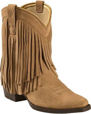 Ariat Girls' Gold Rush Rustic Brown Fringe Western Boots, Bark, hi-res