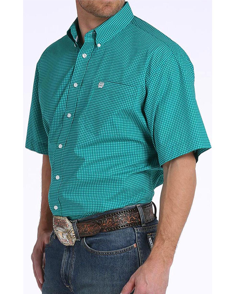 Cinch Men's Teal Print Short Sleeve Button Down Shirt, Teal, hi-res