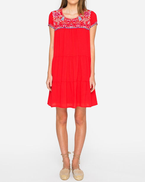 Johnny Was Women's Amal Mexican Tier Dress, Bright Pink, hi-res