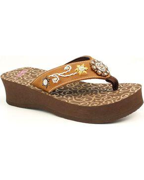 Blazin Roxx Cassie Flip Flops, Brown, hi-res