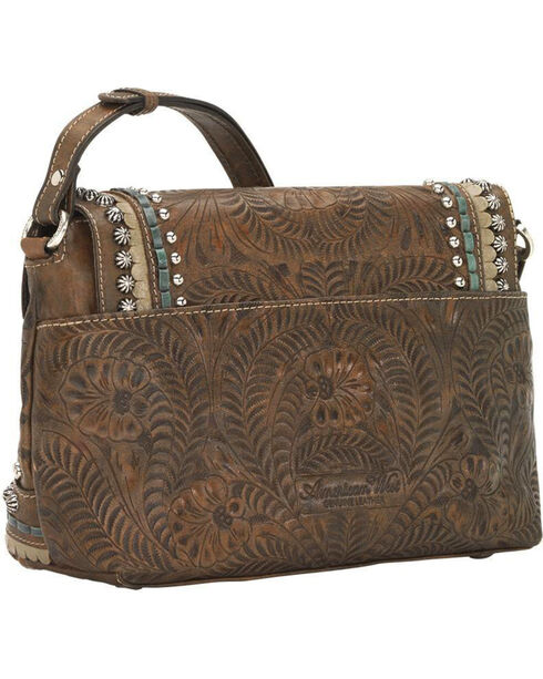 American West Women's Brown Blue Ridge Flap Crossbody Bag , Distressed Brown, hi-res