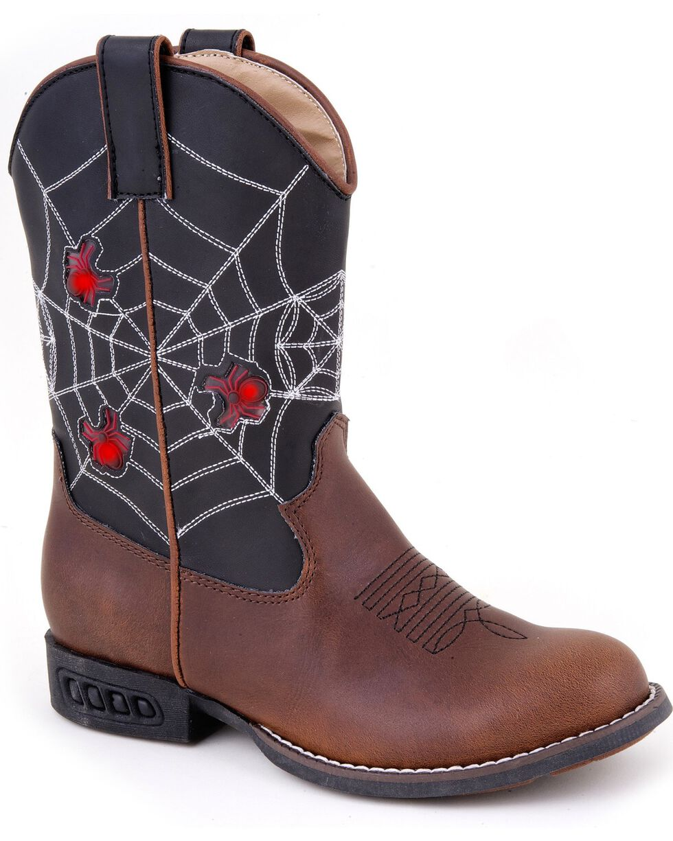 Roper Kid's Light Up Spider Web Western Boots, Brown, hi-res