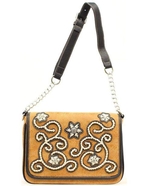 Blazin Roxx Women's Distressed Crystal Overlay Flap Handbag, Tan, hi-res