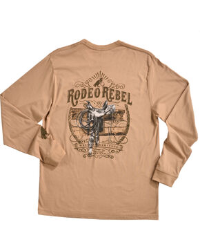 Rodeo Rebel Men's Saddle Long Sleeve T-Shirt, Sand, hi-res