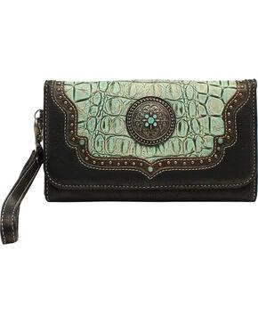 Blazin' Roxx Women's Gator Embossed Wallet, Turquoise, hi-res