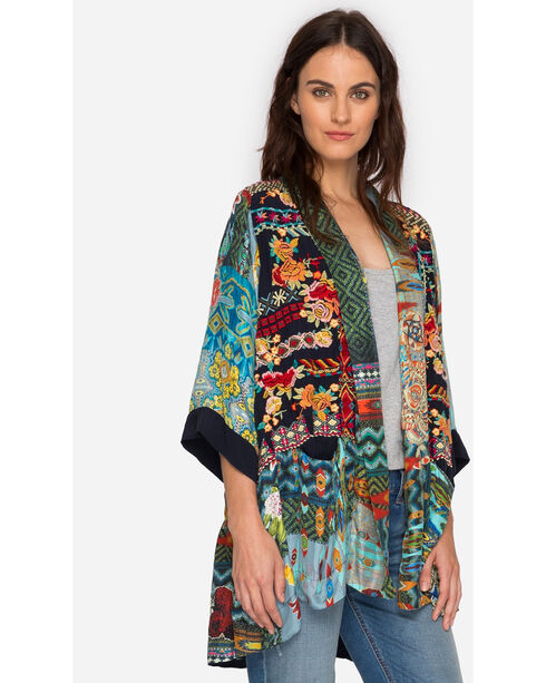 Johnny Was Women's Koben Canvas Embroidered Kimono, Multi, hi-res