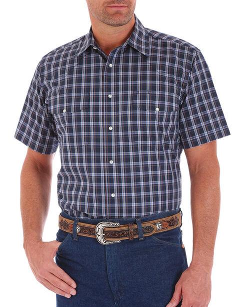Wrangler Men's Plaid Snap Short Sleeve Shirt, Navy, hi-res