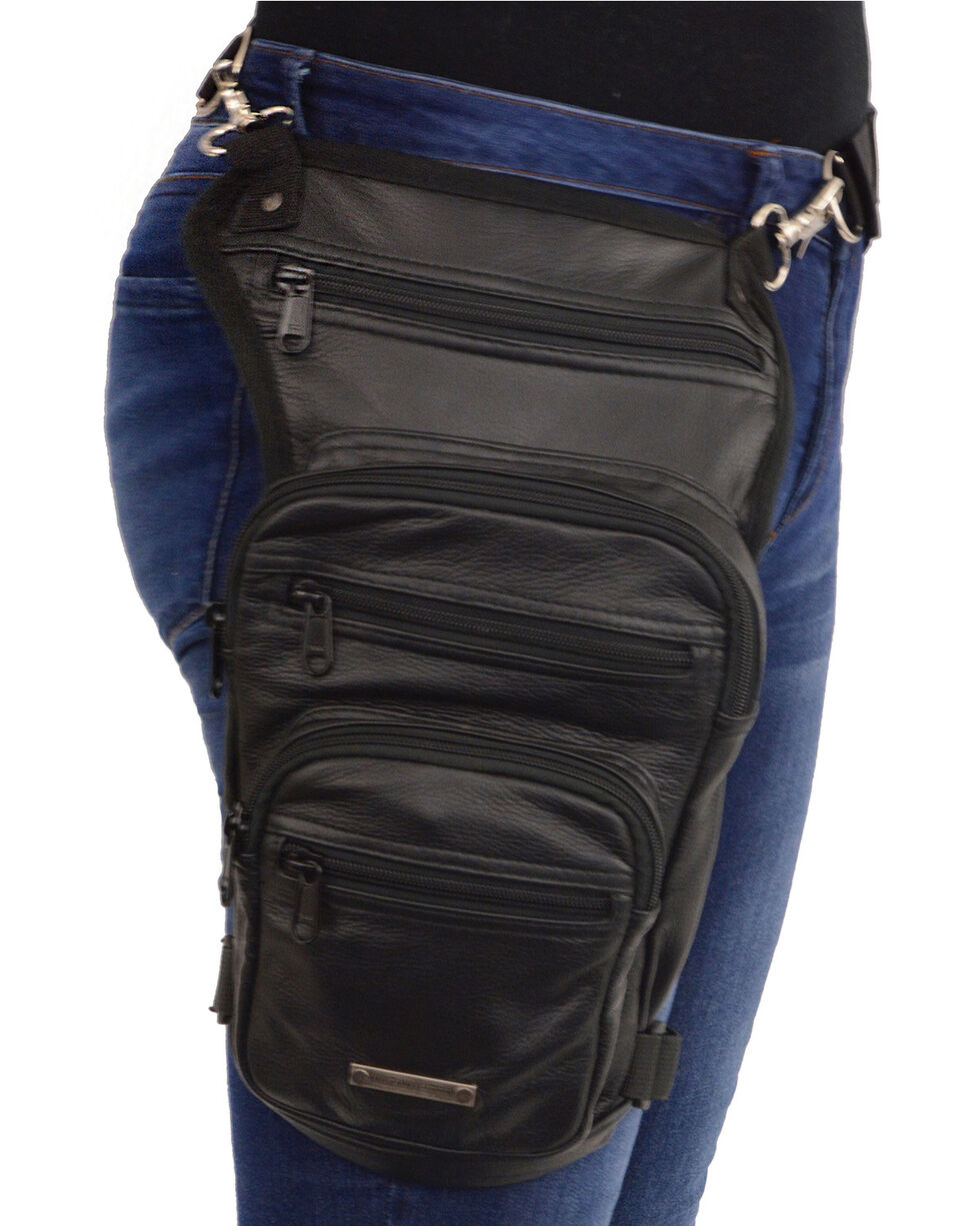 Milwaukee Leather Large Concealed Carry Leather Thigh Bag, Black, hi-res
