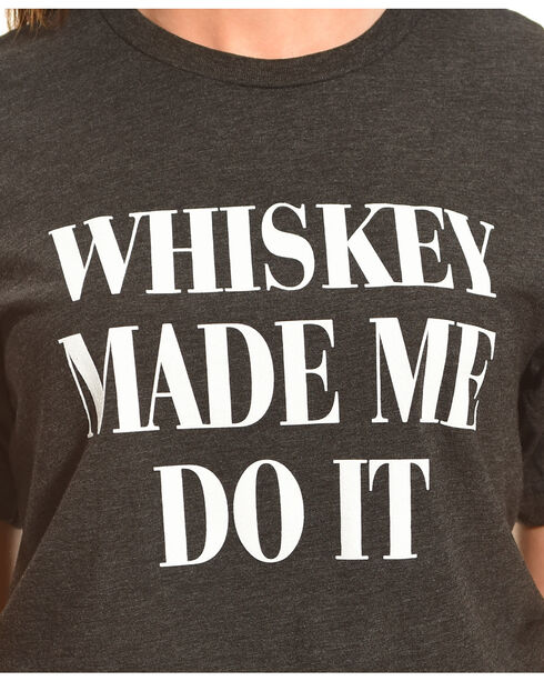 Cowgirl Justice Whiskey Made Me Tee, Charcoal, hi-res