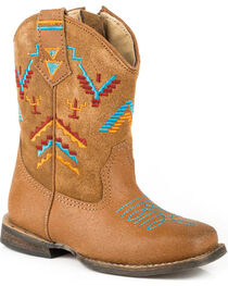 Roper Toddler Girls' Aztec Embroidery Cowgirl Boots - Square Toe, , hi-res