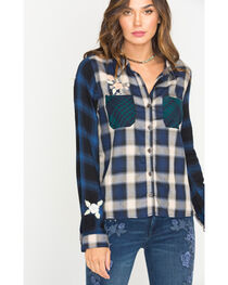 Miss Me Women's Embroidered Plaid Shirt , , hi-res