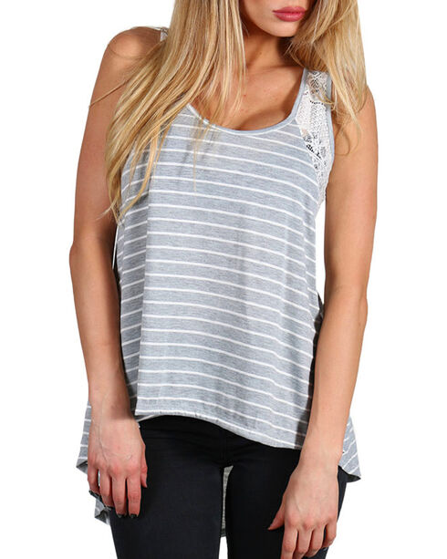 HYFVE Women's Crochet Trim Flowing Tank, Heather Grey, hi-res