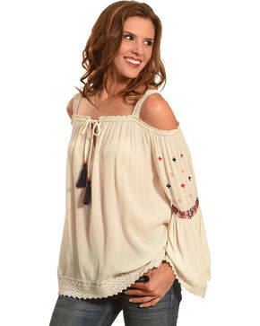 Bila Women's Crochet Cold Shoulder Top, Khaki, hi-res