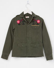 Miss Me Girls' Embroidered Military Jacket, , hi-res