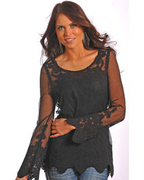 Rock & Roll Cowgirl Women's Black Sheer Lace Top , , hi-res