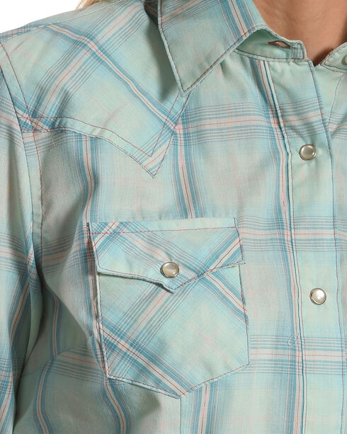 Wrangler Women's Teal Tonal Plaid Long Sleeve Western Snap Shirt, Teal, hi-res