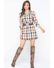 Glam Women's Checkered Plaid Shirt Dress , , hi-res