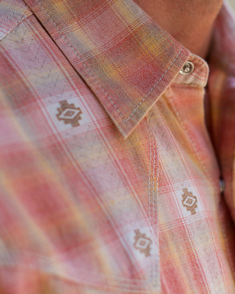 Ryan Michael Men's Chile Ombre Dobby Plaid Shirt, Red, hi-res