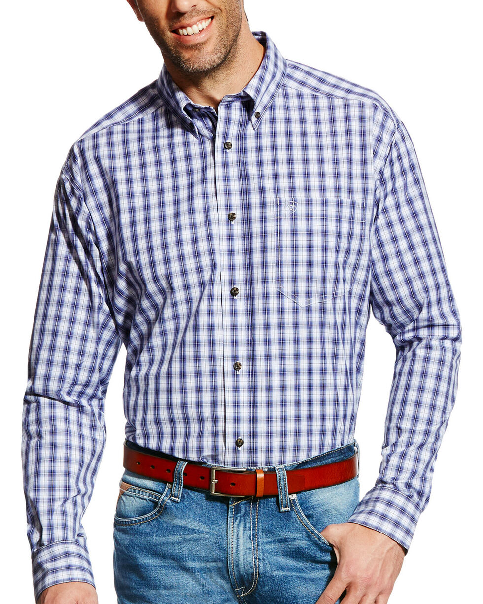 Ariat Men's Pro Series Ely Plaid Long Sleeve Button Down Shirt, Purple, hi-res