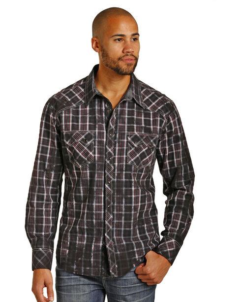 Rock & Roll Cowboy Men's Long Sleeve Spray Washed Plaid Snap Shirt, Black, hi-res