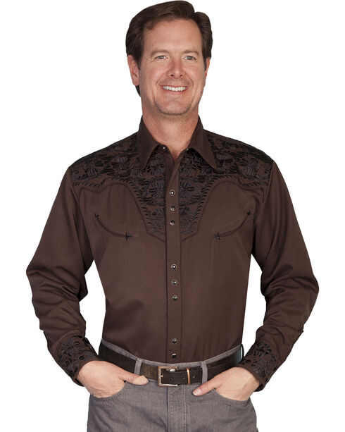 Scully Multi-Color Floral Embroidery Retro Western Shirt - Big, Chocolate, hi-res