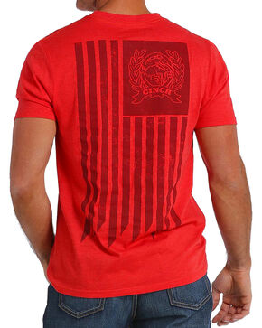 Cinch Men's American Flag Logo Tee, Red, hi-res