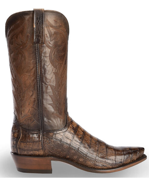 Lucchese Men's Handmade Bernie Caiman Belly Cowboy Boots - Snip Toe, Dark Brown, hi-res