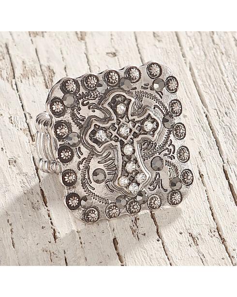 Shyanne Women's Cross and Rhinestone Stretch Ring, Silver, hi-res