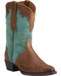 Ariat Girls' Zealous Wingtip Overlay Cowgirl Boots - Snip Toe, , hi-res