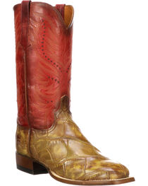 Lucchese Men's Troy Cognac Giant Gator Western Boots - Square Toe, , hi-res