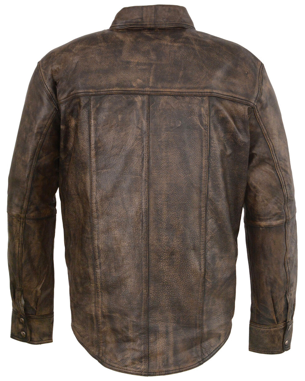 Milwaukee Leather Men's Distressed Brown Light Leather Snap Front Shirt - 5X, Black/tan, hi-res