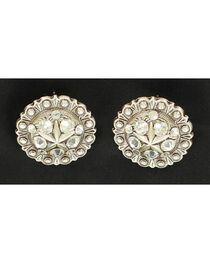 Blazin Roxx Rhinestone Concho Earrings, , hi-res