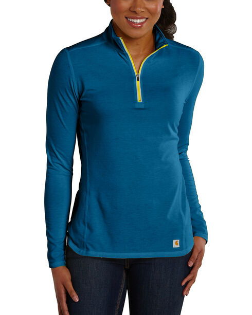 Carhartt Women's Force Performance Quarter-Zip Shirt, Blue, hi-res
