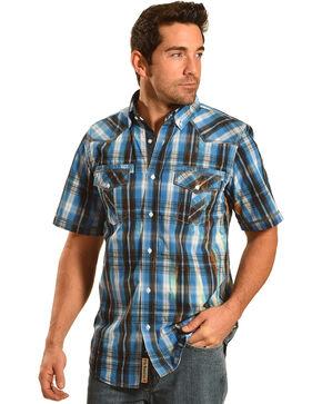 Petrol Men's Blue Plaid Short Sleeve Western Shirt , Blue, hi-res
