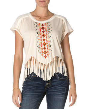 Miss Me Short Sleeve Taupe Fringe Top , Taupe, hi-res