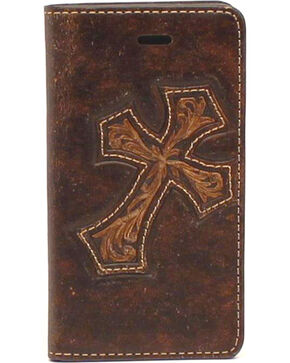 Nocona Leather Diagonal Cross iPhone 5 and 5S Case Wallet, Brown, hi-res