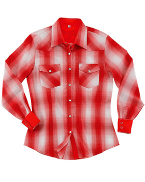 Sherry Cervi by Resistol Women's Bristol Plaid Long Sleeve Snap Shirt, Red, hi-res