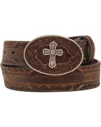 Nocona Women's Cross Buckle Leather Belt, , hi-res