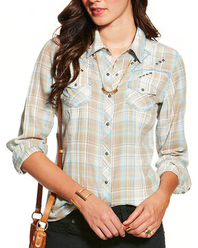 Ariat Women's Nichols Fitted Long Sleeve Western Shirt, Taupe, hi-res