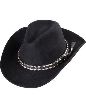 Western Express Men's Clayton Black Wool Felt Braided Band Hat, Black, hi-res