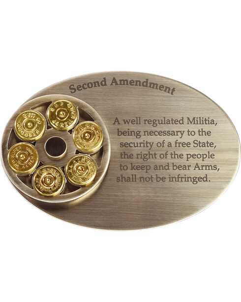 American Heritage Stainless Buckles Second Amendment Belt Buckles, Silver, hi-res