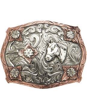 "AndWest Vintage ""Stanton"" Two-Tone Horse Head Buckle, Two Tone, hi-res"