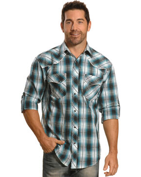 Crazy Cowboy Men's Blue Plaid Fancy Yoke Western Snap Shirt, Blue, hi-res