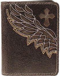 Nocona Embroidered Wing Cutout Bi-Fold Wallet, , hi-res