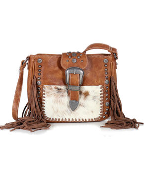 Shyanne® Women's Fur and Fringe Crossbody Bag, Brown, hi-res