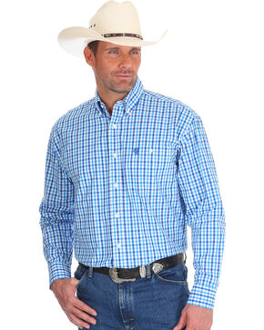 Wrangler Men's Blue George Strait Plaid Western Shirt - Tall, Blue, hi-res
