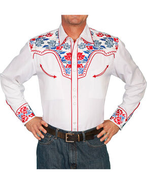 Scully Men's Retro Gunfighter Western Shirt, White, hi-res
