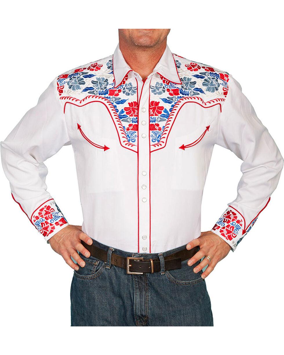 Scully Men's Retro Gunfighter Western Shirt, White, hi-res