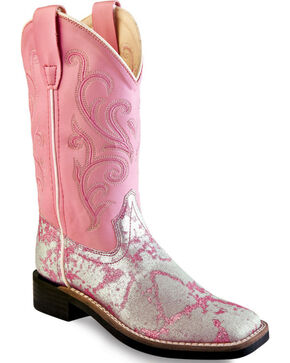 Old West Girls' Pink and Silver Western Boots - Square Toe, Silver, hi-res