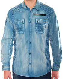 Austin Season Men's Blue Criss-Cross Pattern Shirt , , hi-res